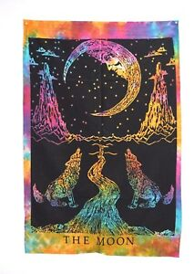 Indian The Moon Wolf Poster Wall Hanging Cotton Home Decor Multi Color
