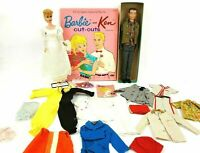 Vintage 1960's Blonde Ponytail Barbie w/ Vintage Ken & Clothing Lot w/ Cut Outs