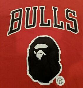 Bape X Mitchell & Ness Bulls 93 Tee Shirt Mens Size Large Hardwood Classics