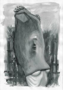 original painting A3 416ShA art modern watercolor female nude