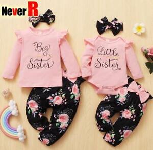 Neugeborene Mädchen Baby Kleidung Rüschen Strampler Blumenhose Outfits Set 3Pcs