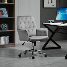Vinsetto Swivel Computer Chair w/ Arm Modern Style Tufted Home Office Deep Grey