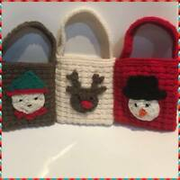 KNITTING PATTERN -Christmas Gift Bags Snowman Reindeer Elf decorations