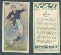 ASSOLUTA R@RIT@' FIGURINA ORIGINALE FOOTBALLERS-MILLWALL 1928 J.FORT*N.13