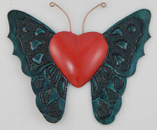 Mexican Handmade Tin Heart Wall Hanging Punched Metal Butterfly Wing Heart # 38