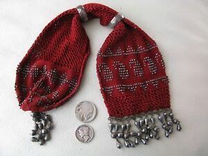 Antique Red Crochet Silver Paisley Steel Bead Fancy Tassel Fringe Miser Purse