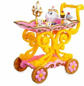 DISNEY BEAUTY AND THE BEAST TEA SET BE OUR GUEST SINGING TEA CART SET NIB