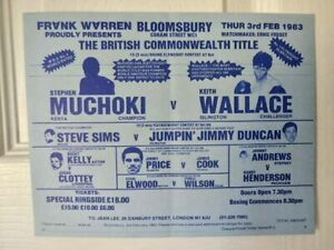 STEPHEN  MUCHOKI  -  KEITH  WALLACE       -  BOXING  POSTER  /  FLYER   - 1983
