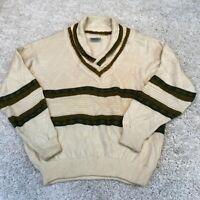 VINTAGE Aklanda Mens Knitted Jumper XL White Wool Pullover
