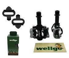Pedales Automaticos SPD Wellgo WAM M18 de Bicicleta MTB y Carretera + Calas 3614
