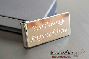Personalised Silver Plated Money Clip & Gift Case ENGRAVED, Father's day gift