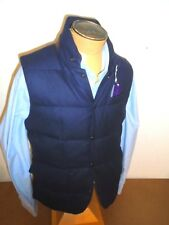 Ralph Lauren Purple Label Navy Blue Lloyd Wool Shell Down Vest NWT Large $1295