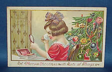 Vintage Christmas Postcard Young Lady & Christmas Tree Must See