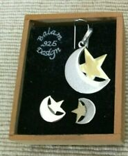 "and Earrings ""Due Luna Dos Tonos� •Nib Sterling Silver 925 Moon And Star Pendant"