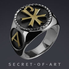 Chi-Ro Jesus Alpha Omega Silver 925 Sterling Ring with 24K-Gold-Plated Parts