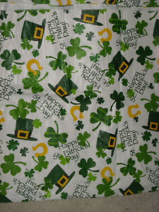 """St. Patrick's Day Vinyl Table Cloth Approximately 51"""" x 88"""" Nice Condition"""
