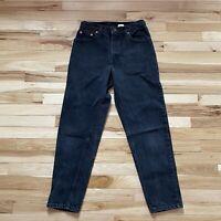 Vintage 90's Levi's 505 Black 9 SHT High Waist Tapered Leg Cropped Mom Jeans