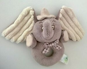 Dumbo Disney Elephant Ring Rattle Baby Playgro Taupe Beige 0+ Hat Checked Bow