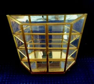 """Vintage Mirrored Glass and Brass Curio Cabinet Display Case 8.75"""" x 9'' x 2'' in"""