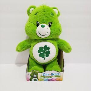 "NIB 2016 Care Bears Plush Good Luck Lucky Green Shamrock Bear 14"" Stuffed Animal"