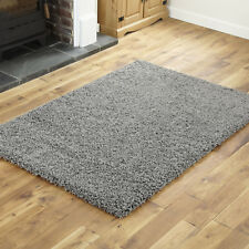 MODERN SMALL TO EXTRA LARGE THICK 5CM PILE NON-SHED DARK GREY SHAGGY SOFT RUG