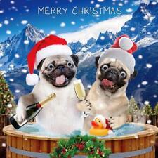 Festive Pugs Googlies Christmas Card Tracks Wobbly Eyes Greeting Cards