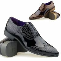 Mens Crocodile Patent Leather Lace Up Shoes Smart Italian Shiny Black Brown 6-11