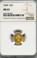1859  Gold Dollar G$1  NGC MS 62