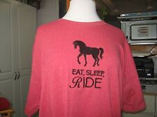 New Eat, Sleep, Ride With Horse Embroidered T-Shirt