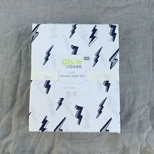 Pottery barn kids Glow in the Dark Bolt Organic twin sheet set white Navy