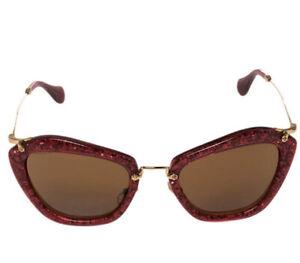 Miu Miu Sunglasses Glitter Red Women AUTHENTIC cat eye gorgeous