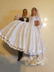 Lillian Rose Hand Painted Porcelain Bride & Groom African American Cake Topper