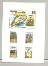 Uganda #637-641 Animals, Birds, Maps 4v & 1v S/S Imperf Proofs in Folder
