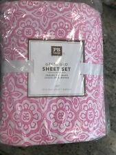 Pottery Barn Teen Greta Geo Full 4 Piece Sheet Set Pink NEW
