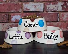 Extra Small Personalised Ceramic hand painted cat kitten dog puppy slanted bowl