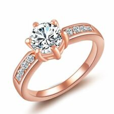 Rose Gold Plated Exquisite 6mm Crystal Classic Solitaire Engagement Wedding Ring
