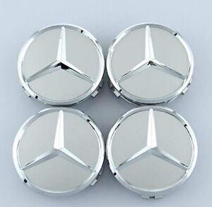 4 x Centre Wheel Caps for Mercedes Benz Alloy SILVER/CHROME C63 CLA AMG GLE GLC
