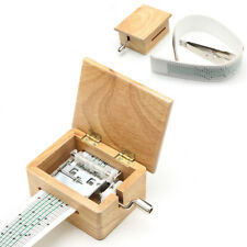 Personalized DIY Hand Crank Wooden Music Box with Hole Puncher and Paper Tapes