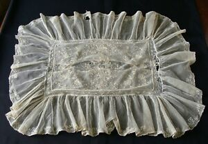 Antique Embroidered Tambour Net Lace Pillow Case Birds Flowers as is
