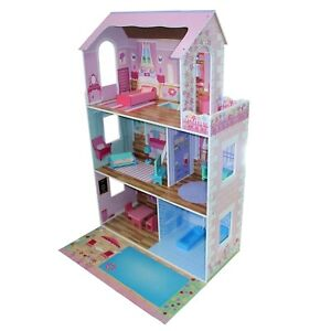 Fairy Doll House Open Front 3 Levels 13 pc Furniture Large Wooden Pretend Play