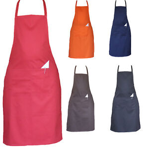 Chefs Aprons Plain Front Pockets Kitchen Butcher cooking BBQ Stuff Full Aprons