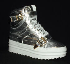 BN Silver Metallic WEDGE Platform flat SNEAKERS LACE UP ANKLE BOOTIE Creeper 5.5