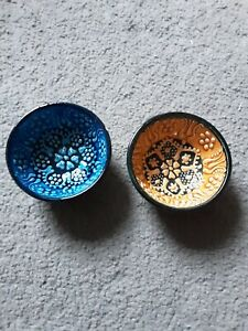 Hand Painted Ceramic Bowls(8 cm) - 2 x Handmade Turkish Pottery - dips, mezze