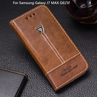 For Samsung Galaxy J7 MAX G615F Case PU Leather Flip Stand Wallet Phone Cover