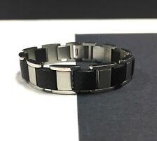 """Heavy STAINLESS STEEL & Black Rubber Men's Unisex Bracelet 8"""" Long Wide KK15e"""