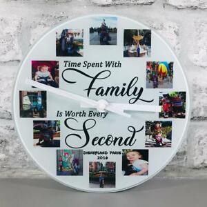 personalised 12 photo/image glass clock with any wording- with free gift box