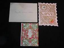 2 Antique Diecut VICTORIAN GREETING CARDS, w/ Orig. Envelope to Springfield, MA.