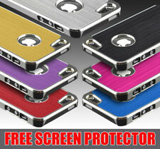 BRUSHED ALUMINIUM CASE COVER FITS IPHONE 5 4 4S FREE SCREEN PROTECTOR FOR METAL