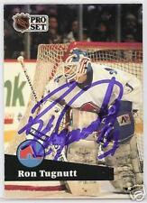 RON TUGNUTT 1992 PRO SET Quebec Nordiques  AUTOGRAPHED HOCKEY CARD JSA