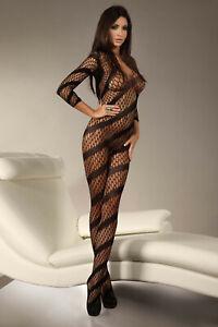 Myranda Diagonal Stripe Pattern Fishnet Crotchless Bodystocking One Size Black